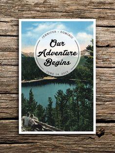 Adventure Mountain Save the Date Vintage Postcard // Colorado Wedding Lake Save the Date Outdoors Wedding Invitation North Carolina Camp