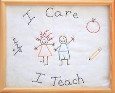 PDF Stitchery Pattern I Care I Teach Embroidery by thestitchincoop, $5.00