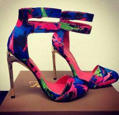 Blue pink and green cuffed heels #shoes @JenniferW