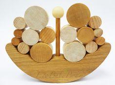 FREE SHIPPING Wooden toys Ship Balancer Toddler Montessori Waldorf Balance natural wood educational gift set for kids