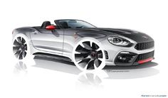 The Abarth 124 Spider is a performance version of the Fiat roadster. Here's a full set of renderings and a video with Head of Design Ruben Wainberg Car Design Sketch, Car Sketch, Cool Car Drawings, Mountain Bike Accessories, Bike Drawing, Best Mountain Bikes, Bike Photography, Bike Poster, Bike Style