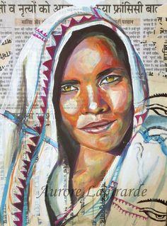 Portrait de voyage en Inde, peinture et collage Newspaper Art, Newspaper Painting, Art Black Love, Watercolor Deer, Watercolour, Journal D'art, Black Artwork, 3d Artwork, Art Amour