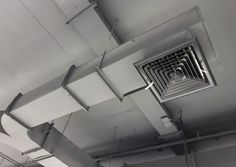 The function of a duct system is to transmit air from the air handling apparatus to the space to be conditioned. Ceiling Air Conditioner, Hvac Ductwork, Hvac Design, Main Entrance Door Design, Hotel Floor Plan, Kitchen Exhaust, Air Ventilation, Tiny House Plans, Interior