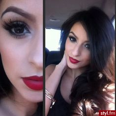 red lips, dark hair