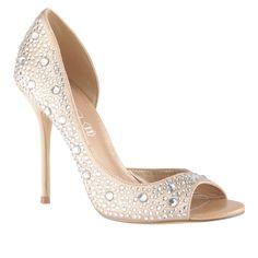 ORSINO - women's peep-toe pumps with rhinestones crystals
