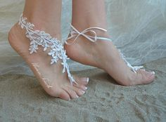 lace barefoot sandals beach wedding barefoot sandals beach Beach Wedding Sandals, Beach Wedding Photos, Bare Foot Sandals, Lace Flowers, Anklet, Bridesmaid Gifts, Barefoot, Best Gifts, Weddings
