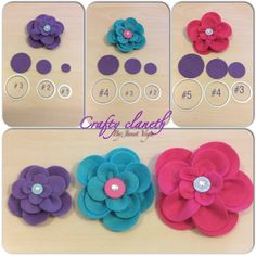 Flowers using the circles collection framelitsA Stampin' Up! Cloth Flowers, Felt Flowers, Diy Flowers, Fabric Flowers, Paper Flowers, Felt Crafts, Diy Crafts, Diy Hair Bows, Fabric Ribbon