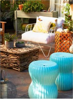 Driftwood Table is Amazing! By adding garden stools to your outdoor space, you can elevate plants, have extra seating and complete your color palette! Outdoor Stools, Outdoor Decor, Outdoor Spaces, Outdoor Living, Driftwood Table, Dining Room Table Chairs, Lounge Chairs, Deck Decorating, Living Room Flooring