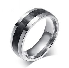 8mm Mens Tungsten Ring Black Carbon Fiber Inlay Mens Tungsten Metal Rings Mens Tungsten Carbide Comfort Fit Mens Tungsten Wedding Bands