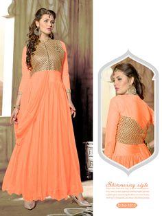 Designer Light Orange Net Long Party Wear Anarkali Suit-RDA129-1010( RD-9032 )Karishma