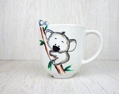 Cute Panda Mug Panda Tea Cup Child Animal Mug от doodleNart Animal Mugs, Personalized Cups, Cute Panda, Tea Mugs, Snoopy, Pottery, Children, Unique Jewelry, Handmade Gifts