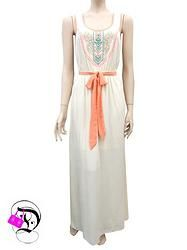Sleeveless Maxi Dress in Ivory w Embroidery $44.99 Divalicious