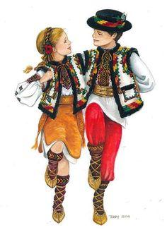 Folk Embroidery, Learn Embroidery, Embroidery Patterns, Folk Costume, Costumes, Romanian Wedding, Dancing Drawings, Ukrainian Art, Folk Dance