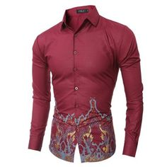 Camouflage Sleeve Men's Fashion Slim Fit Dress Shirt