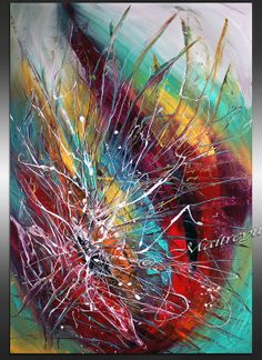 OVERSIZED LARGE Painting red Teal Turquise by largeartwork on Etsy, $298.00