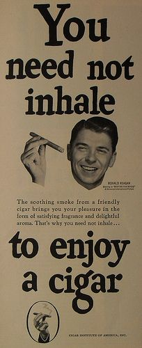 1940s RONALD REAGAN vintage tobacco cigar smoking advertisement by Christian Montone, via Flickr