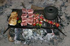 Camp fire cooking damper chops kebabs and vegies