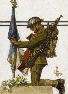 "shear-in-spuh-rey-shuhn: ""J.C. LEYENDECKER Soldier Kneeling At French Memorial Oil on Canvas 29″ x 20.75″ """