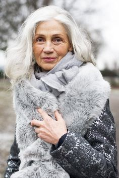 She's embraced her age-With style and grace-Not concerned with wrinkles-On her face-Her hair turned white-It suits her well-She cares about her appearance-That you can tell-So embrace your wrinkles-And the grey that you see-You came by them all-Naturally.