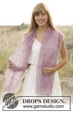 Spring Blush - a beautiful stole in #DROPSKidSilk. Free #knitting pattern #ss16
