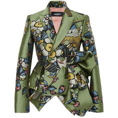 Dsquared2 Fantasy Jacquard Sculpture Jacket ($3,565) ❤ liked on Polyvore featuring outerwear, jackets, dsquared2, dsquared2 jacket, ruffle jacket, jacquard jacket and green jacket