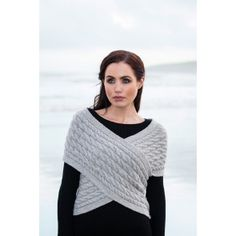 Our cable knit wrap today with side button is simply stunning. This ladies knit top has beautiful Aran cable knit designs. Also cashmere is blended in the wool for extra softness. Buy today from Clanarans Wool Cape, Wool Poncho, Sweater Shop, Wrap Sweater, Knit Wrap, Knitting Designs, Knitting Patterns, Knitting Ideas, Knitting Projects