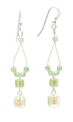 Jewelry Design - Earrings with Swarovski Crystal Beads and Spring Green…