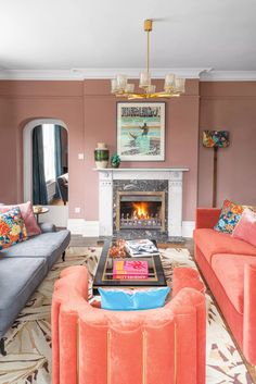 Colors that go with pink – from blush to fuchsia what to pair with these everpopular rosy hues   Livingetc Modern Living Room Colors, Bold Living Room, Living Rooms, Warm Grey Walls, Pink Color Combination, Grey Furniture, Reception Rooms, Elle Decor, Interior Inspiration