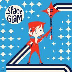 Cover art for Space Glam album. By Koldo Barroso. #album #albumcover #retro #vinyl #glamrock #glam #davidbowie #ziggystardust #midcentury #midcenturymodern #illustration #art #retrostyle #cartoons #spaceage #popculture #popicon