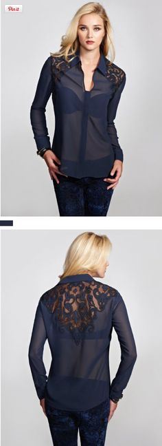 GUESS Women's Eva Long-Sleeve Brocade Lace Top, BLUE NILE (SMALL), Romantic lace details and a sexy front cutout make this sheer top the one to want. Wear it with leggings, skinny jeans, or your favorite miniskirt for a chic style statement day or night. Sheer blouse..., #Apparel, #Blouses & Button-Down Shirts