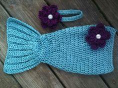 Newborn Baby Girl Crochet Aqua MERMAID TAIL Photo by shayahjane