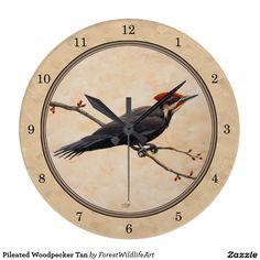 Pileated Woodpecker Tan Clocks