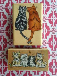 Cats Kittens Lot of 2 Wood Mounted Rubber Stamps All Night Media Inkadinkado | eBay