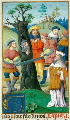 Valenciennes, Bibl. mun., ms. 0007, f. 055 (the prophet Isaiah being sawn in half inside a cedar tree). Bible (second quarter of the 16th century?)