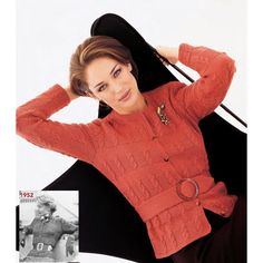 Elegant and figure-flattering, our belted cardigan/jacket features alternating cable and stockinette panels and an optional knitted belt. The Belted Cardigan/Jacket first appeared in the Fall/Winter 1952 issue of the original Vogue Knitting magazine. Belted Cardigan, Knit Cardigan, Knitting Patterns Free, Free Knitting, Vogue Knitting, Knitting Magazine, Stockinette, Knitted Shawls, Knitwear