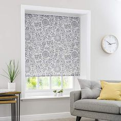 Scandi Floral Grey Daylight Roller Blind | Dunelm Patterned Roman Shades, Grey Roman Blinds, Resin Coating, Roller Blinds, Home Accessories, Floral Design, Modern, Inspiration