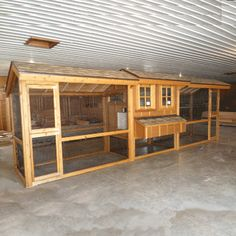 Lancaster with Two Runs Custom Chicken Coop---good ideas, easy clean roosts, poop trays, etc.
