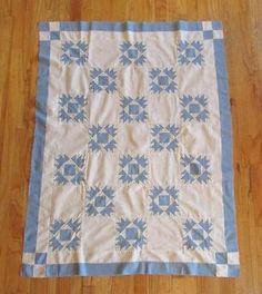 DTD 1921 Blue White Antique Crib Quilt Top Handpieced Great Grandma to Bobby | eBay Vintageblessings