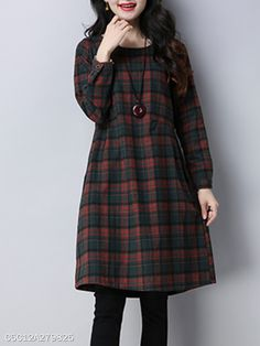 Round Neck Patch Pocket Checkered Shift Dress - berrylook.com Vestido Casual, Cheap Fashion, Dresses Online, Dress Outfits, Patches, Pocket, Lady, Coat, Stuff To Buy