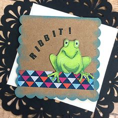 Ribbit Mini Card, Gift Tag, Frog, Halloween, Birthday, Fun, Frog Lover, Thinking…