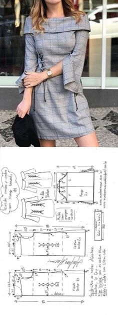 Sewing Dresses Vestido ombro a ombro com manga e gola virada Fashion Sewing, Diy Fashion, Ideias Fashion, Fashion Outfits, Dress Sewing Patterns, Clothing Patterns, Fabric Sewing, Skirt Patterns, Blouse Patterns