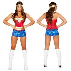 Wonder Women Sexy Costume Roma Heroine Hottie Captain Hero America Halloween Costumes Superwoman…