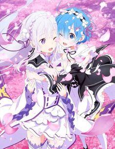 Emilia and Rem-Re: Zero kara Hajimeru Isekai Seikatsu - Anime Kawaii Anime Girl, Manga Kawaii, Pretty Anime Girl, Beautiful Anime Girl, Anime Art Girl, Manga Girl, Anime Girls, Re Zero Wallpaper, Art Anime Fille