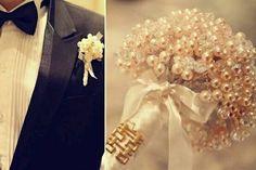 Pearl bouquet and boutonnière
