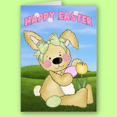Happy Easter Bunny card for kids. Easily add your own greeting.