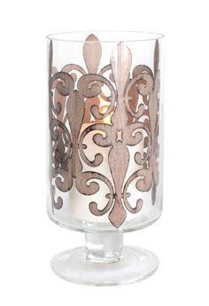 Stonebriar Hurricane Candle Holder with Fleur De Lis Drop-In Stonebriar  $30 http://www.amazon.com/dp/B00C1I43SE/ref=cm_sw_r_pi_dp_EZd7vb1A0GE30