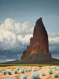 """""""Agatha's Needle,"""" by James Guilford Swinnerton (1875 – 1974), an American cartoonist and a landscape painter of the Southwest deserts."""