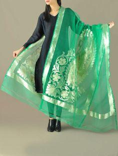 Green Paisley Benarasi Net Dupatta