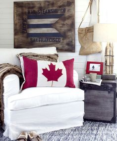Love the flag pillow, for the cottage on Canada Day weekend Masculine Room, Canadian Things, Little Corner, Cozy Cottage, Cottage Ideas, Canada Day, Romantic Homes, Cozy Corner, Girl House