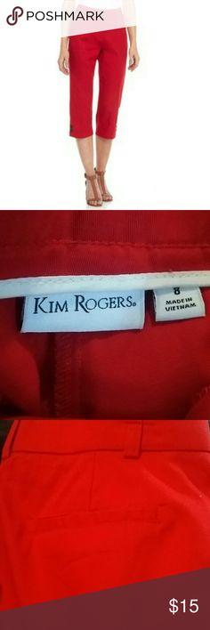 Kim Rogers Red Mercury Knit Waistband Capri Pants Size 8 NWOT. Faux pockets in back. Excellent condition Kim Rogers Pants Capris